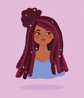 African american girl długie włosy warkocze portret postać z kreskówki ilustracji wektorowych
