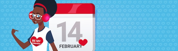 African american girl na stronie kalendarza happy valentines day greeing poziomy baner z miejsca na kopię