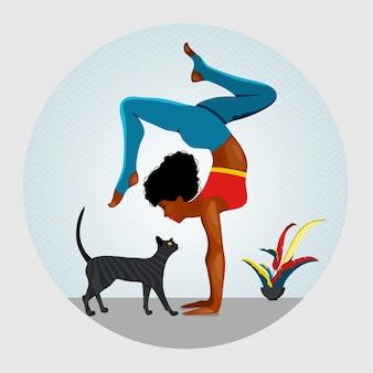 African american kobiet stojących w ćwiczeniu adho mukha vrksasana. obok kobiety idącego kota ilustracja joga, koncepcja medytacji, korzyści zdrowotne dla ciała, kontrola umysłu i emocji