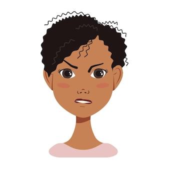 African american kobieta avatar twarz ikona z czarnymi włosami z różnymi emocjami atrakcyjna kreskówka c...