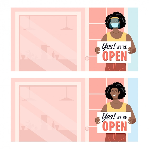 African american kobieta noszenie ochrony trzymając otwarty znak przed jej sklepem