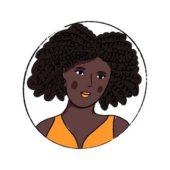 African american portret kobiety. piękna młoda czarna dziewczyna w pomarańczowym topie z otwartymi ramionami. ręcznie rysowane doodle wektor avatar.