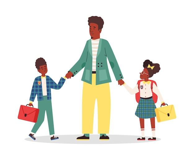 African american rodziny pęd do szkoły płaskie wektor ilustracja na białym tle