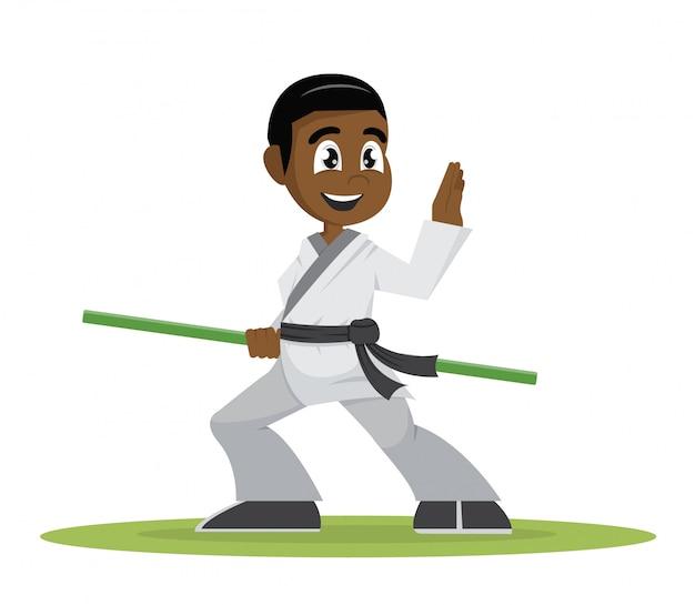 African boy gracz kung fu.