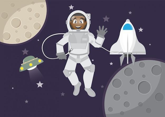 African boy turystyka w kosmosie.