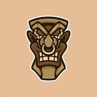 African mask wood logo