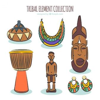 African ręcznie rysowane obiekty