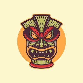 African wood mask logo