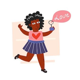 Afro american dziecko, dziewczyna z bańką mydlaną. ciemny kolor skóry. brak rasizmu. prawa człowieka. płaska ilustracja, ikona, naklejka. na białym tle.