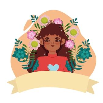 Afro american kobieta młoda postać z delikatnymi kwiatami