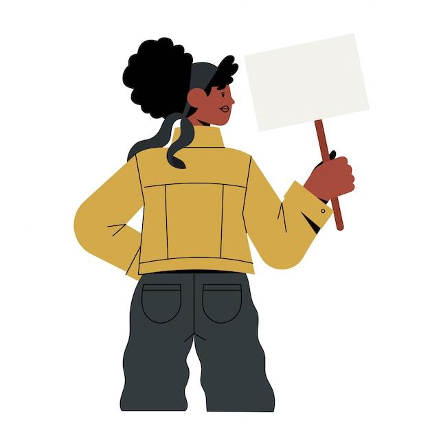 Afro amerykańska kobieta trzymać znak.