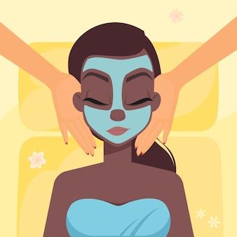 Afro-amerykańska postać kobieca w masażu twarzy w spa