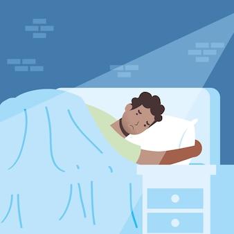 Afro człowiek cierpiący na bezsenność ilustracja postaci