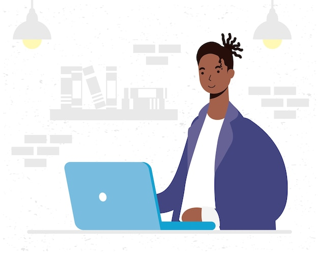 Afro człowiek za pomocą komputerowego charakteru