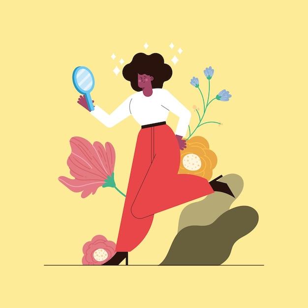 Afro dama z lustrem dbania o siebie