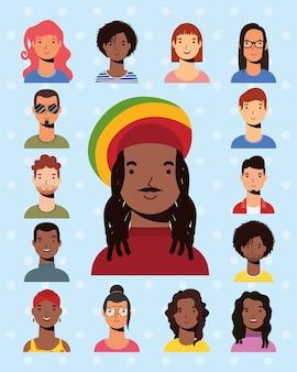 Afro etniczny mężczyzna z jamajskim kapeluszem i międzyrasowymi ludźmi wektor płaski design