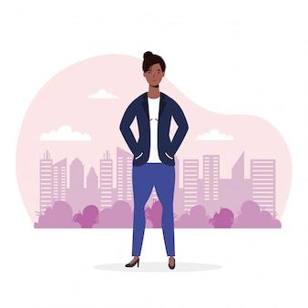 Afro ilustracja młoda kobieta