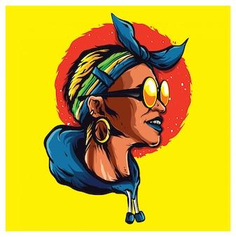 Afro ilustracja w stylu kobiety