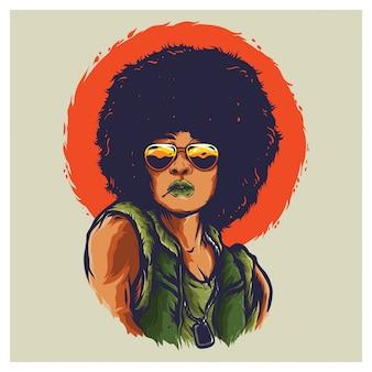 Afro kobieta wojna wietnamska ilustracja