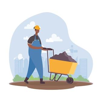 Afro konstruktor pracownik z projektowaniem ilustracji wektorowych sceny postaci taczki