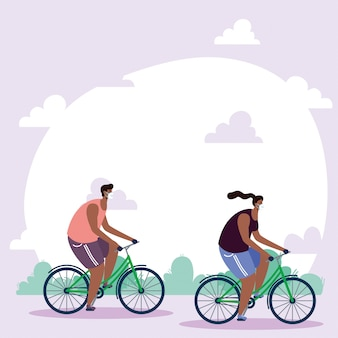 Afro młoda para noszenie masek medycznych w rowerach