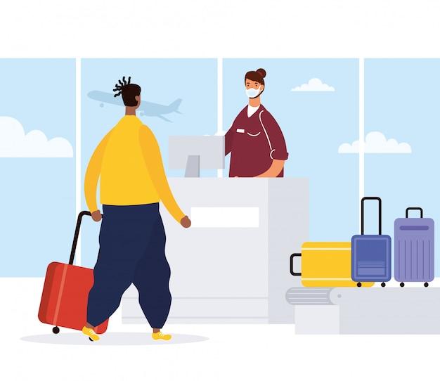 Afro młody człowiek z walizkami w zespole transportowym