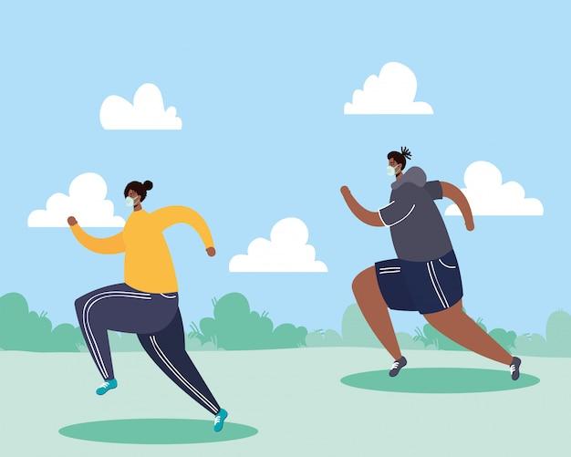 Afro para jest ubranym medycznego maskowego bieg sport w parku