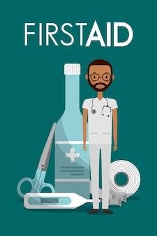 Afroamerican man doctor sthetoscope first aid