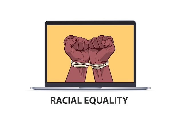 Afroamerykanie czarne pięści związane liną na ekranie laptopa zatrzymują rasizm, równość rasowa, czarne życie ma znaczenie