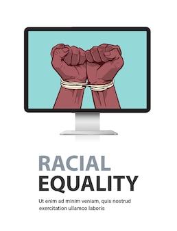 Afroamerykanie czarne pięści związane liną na ekranie monitora zatrzymują rasizm, równość rasowa, czarna koncepcja życia materia, pionowa przestrzeń kopii