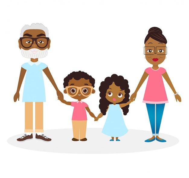 Afroamerykanie dziadkowie z wnukiem i wnuczką. rodzina afroamerykanów trzyma się za ręce.
