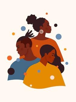 Afroamerykanie i kobiety w kolorowych ubraniach stoją jeden po drugim