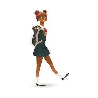 Afroamerykanin, czarnoskóra uczennica płaski wektor ilustracja na białym tle.