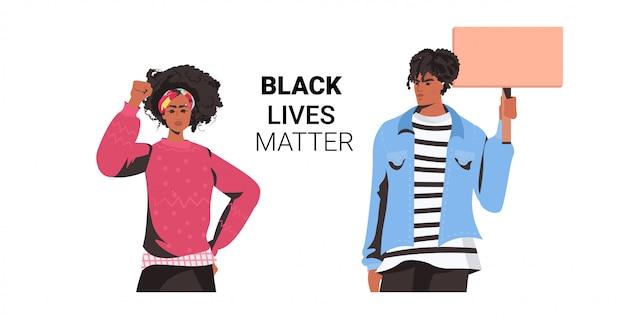 Afroamerykanin para trzyma pusty transparent czarna kampania materii życia przeciwko dyskryminacji rasowej