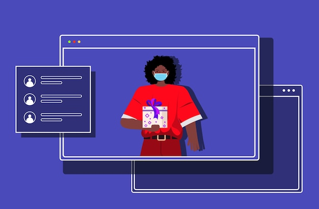 Afroamerykanin santa kobieta w oknie przeglądarki internetowej trzyma pudełko nowy rok święta bożego narodzenia uroczystość koronawirus kwarantanna koncepcja komunikacji online ilustracja pozioma