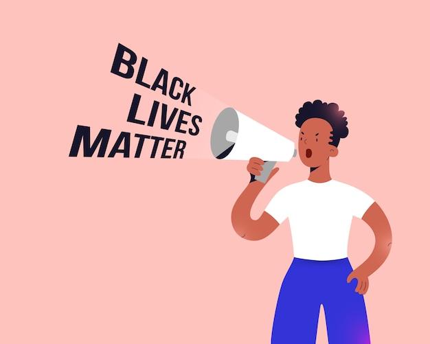 Afroamerykanka protestująca trzymając głośnik, płaska ilustracja