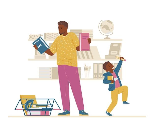 Afroamerykańska rodzina kupuje przybory szkolne ojciec i syn pierwszoklasiści przygotowują się do szkoły