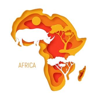 Afryka. dekoracyjna 3d wycinana papierowo mapa kontynentu afrykańskiego z nosorożcem sylwetkowym. 3d wycinany z papieru ekologiczny.
