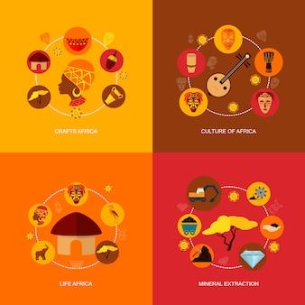 Afryka ikony płaski skład