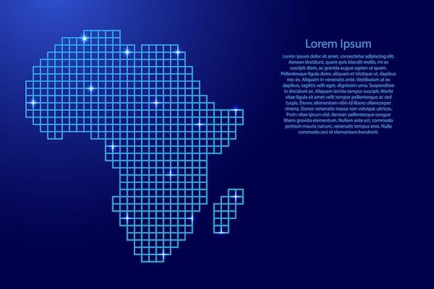 Afryka mapa sylwetka z niebieskich kwadratów struktury mozaiki i świecących gwiazd. ilustracja wektorowa.