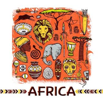 Afryka szkic ilustracji