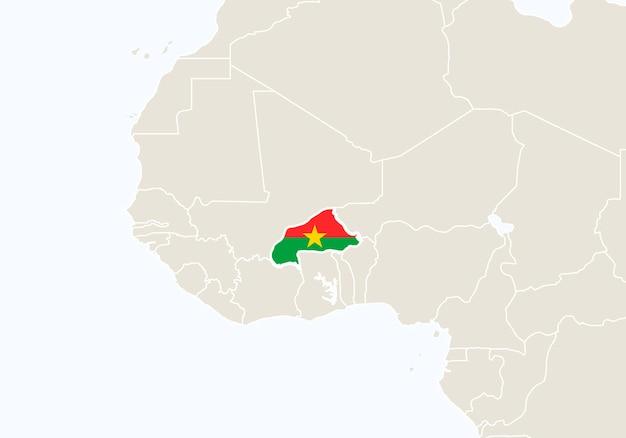 Afryka z podświetloną mapą burkina faso. ilustracja wektorowa.