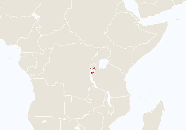 Afryka z podświetloną mapą burundi. ilustracja wektorowa.
