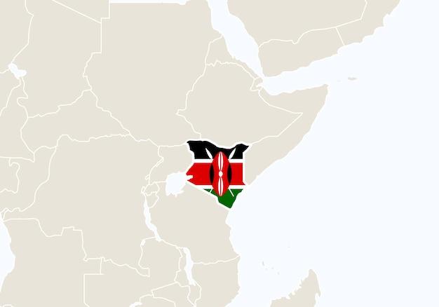 Afryka z podświetloną mapą kenii. ilustracja wektorowa.
