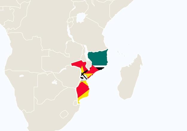 Afryka z podświetloną mapą mozambiku. ilustracja wektorowa.