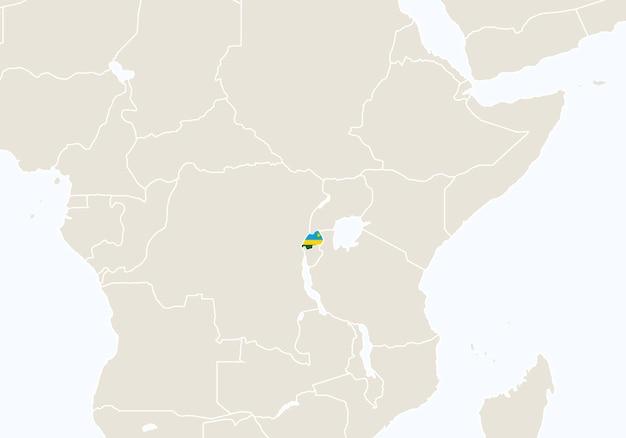 Afryka z podświetloną mapą rwandy. ilustracja wektorowa.