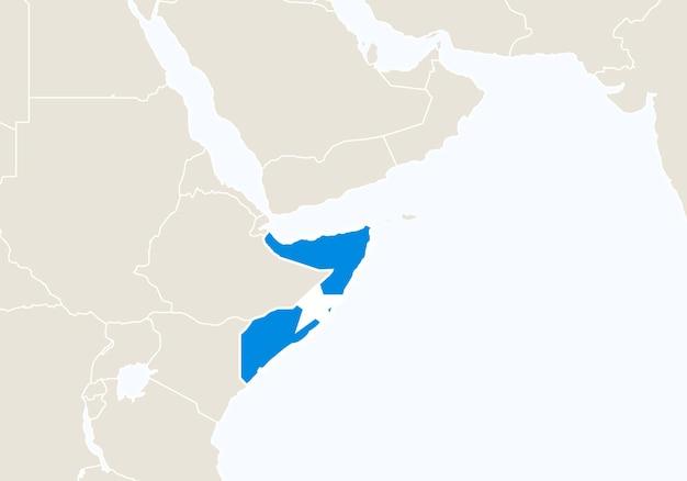 Afryka z podświetloną mapą somalii. ilustracja wektorowa.