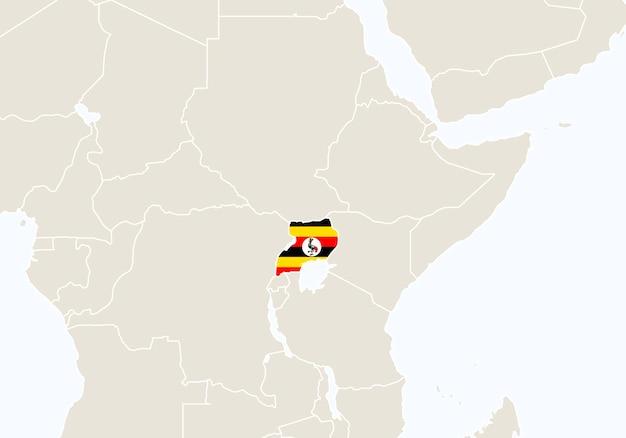 Afryka z podświetloną mapą ugandy. ilustracja wektorowa.