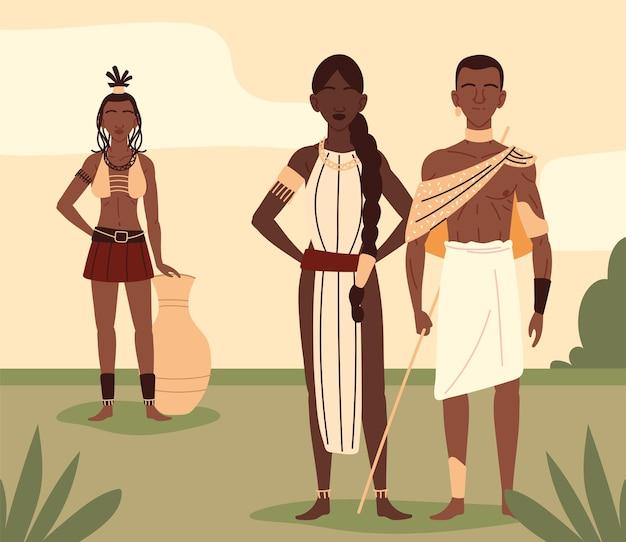Afrykanie w narodowych strojach