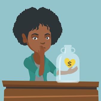 Afrykanin łamał kobiety patrzeje pustego pieniądze pudełko.
